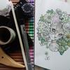 完成】お花の中からねこにちわ~(← …のページが塗りあがりました☆おとニャーの塗り絵ノートより