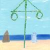 個展の絵。海辺。
