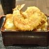 豊洲の「米花」で海老・いか天重、タコと海老の酢の物、肝吸い。