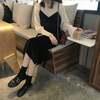 韓国ファッション レディース セットアップ キャミワンピース + シフォンブラウス ガーリー