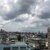 ビルの屋上と台風15号