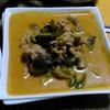 【今日の食卓】ゲァン・パネン・ムー、豚肉のレッドカレー炒め汁(?)。今日はナス入り。私のために辛さを加減してくれて、ココナッツミルクをたっぷり入れてクリーミーで美味。 Gaeng Panang Moo. #タイ料理
