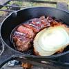 キャンプ飯 焚き火とスキレットなら厚切り肉とワインでしょ。漢のソロキャンプ。