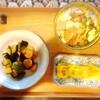 ゴーヤーチャンプルー、茄子と海老のあんかけ、玉子焼き