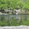 残雪の鶴間池に映ったブナの新緑