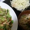 豚こまレタス炒め、大根サラダ、もやしスープ