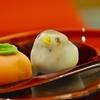 豊洲の「茂助だんご」で上生菓子(柿、すずめ)。