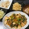 鶏むね中華炒め、キャベツの甜麺醤和え、スープ、キャベツの漬物