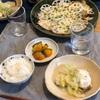 ごはん、白菜とぶりの蒸し煮、かぼちゃの塩バター、蓮根のチーズ焼き