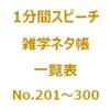 1分間スピーチ|雑学ネタ帳の一覧表(No.201~300)です。