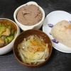 レバーペースト、レタス煮浸し、スープ