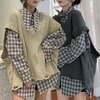 【韓国ファッション】レディース セットアップ チェック柄シャツ + ダメージ加工ニットベスト