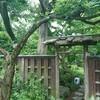 曇りの古庭。