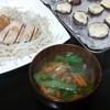 鶏むね柚子コショウ、椎茸チーズ焼き、スープ