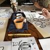 成田 古民家空間 風楽 筆絵で描くねこワークショップ終了
