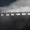 飛騨の春景色【霧に包まれたダム湖】