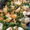 鶏肉と緑の野菜(ゴーヤ・ピーマン・シシトウ)の七味焼き