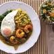 ✴︎レモン皮の即席漬け入りマンゴーサラダ(覚書き)、大根、挽き割り豆、椎茸、海老のスパイス煮込みでスープ飯風に