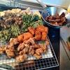 幸運な病のレシピ( 2450 )昼: ポテサラ、揚げ物軍団(鳥、カツ、レバー、薩摩芋、舞茸、春菊)