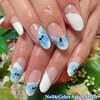 涼やかな大人の夏ネイル♡曲線フレンチ&ブルーの水彩画フラワーネイル☆ジェル