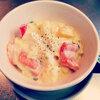 本日の朝食惣菜は豆腐マカロニクリームシチュー