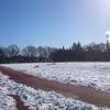 2レーンだけ除雪されてる東大和南公園で久しぶりにインターバル走やってきました!