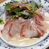 鯛のカルパッチョ。トウモロコシの飯。