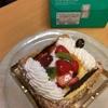 誕生日ケーキを仲良く二人でホールで食べる