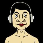 音声コンテンツを聴く男性 のイラスト