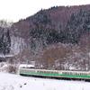 銀雪のしなの鉄道撮影(4):牟礼~古間,戸草集落の定番カーブにて。