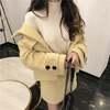 韓国ファッション レディース セットアップ ウールジャケット + ウールスカート ウール