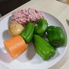 ピーマンとありあわせ野菜の肉味噌炒め