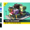 【無料化アセット】 日本らしい和の風情たっぷり♪ 「街の景観」ボクセル素材。小さくて可愛いお店、住居と、電柱、鳥居、室外機、スクーター、バス停など36種類のモデル「Innovana Games」