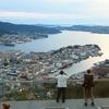 北欧ノルウェイの第二の都市ベルゲンのフロイエン山からの眺望
