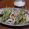 幸運な病のレシピ( 2005 )昼:麺一人前を二人で食べる冷やし中華(バンバンジー・イカボイル・モヤシ・新タマネギ微塵)バイキングと言うかビュッフェというか。