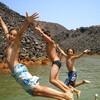 兵庫県南淡路市の温泉『ゆーぷる』の露天風呂には滑り台やうんていなどアスレチックになってる!