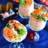 エビと菜の花のカクテル寿司*ジュレキラリ☆節約型ひな祭りに。。