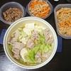 しぐれ煮、もつ鍋風、切り干し煮物・サラダ、味噌汁