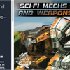 Sci-Fi Mechs and Weapons Pack 破壊力抜群ウェポンセット!重量級マシン4体の3Dモデルパック