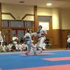 那覇地区中学校夏季空手道大会。形で強くなりたければ、組手も重要だよね。
