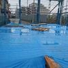 新昭和の体験宿泊 と上棟前の雨。。