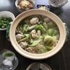 五目混ぜご飯と鶏団子と焼きネギ鍋