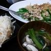 青椒肉絲風、大根サラダ、スープ
