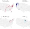米国コーヒーチェーン店の地勢図:Coffee place geography