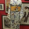 グレー地蝶々薔薇桜単衣小紋×オレンジ地蝶々刺繍絽名古屋帯