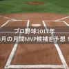 プロ野球2017年8月の月間MVP候補を予想!