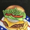 ハンバーガーのチョークアートが完成しましたが・・・