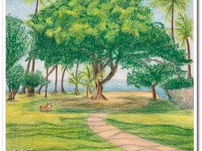 ホノルルのマカレイビーチパークの絵が完成しました〜いつかハワイに住みたいな〜