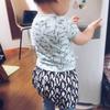 娘1歳夏・ペンギン柄のサルエルパンツ(もも丈)