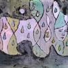 雨しずくと顔のある絵